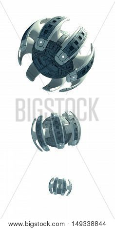 3D Illustration of futuristic spacecraft or military surveillance drone for fantasy games or science fiction backgrounds of interstellar space travel, with the clipping path included in the file.