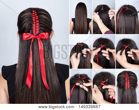 Hairstyle for long hair. Simple braid hairstyle with red tape for celebration new year. Hairstyle. Tutorial. Hair model