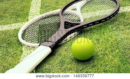 Tennis rackets and ball are located on grass court. 3D illustration