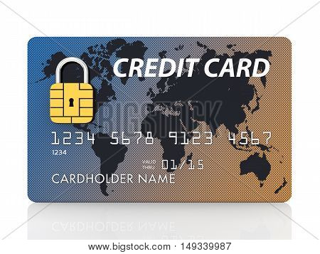 Generic credit card with security chip as padlock isolated on white , Secure banking , 3d illustration