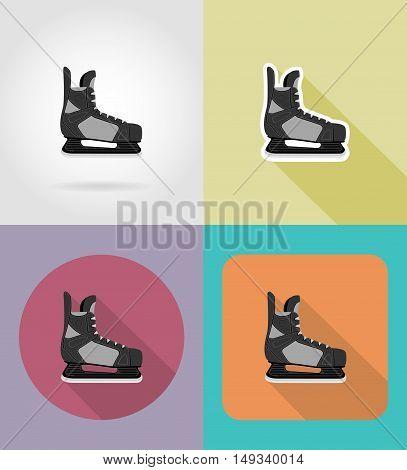 hockey skates flat icons vector illustration isolated on background