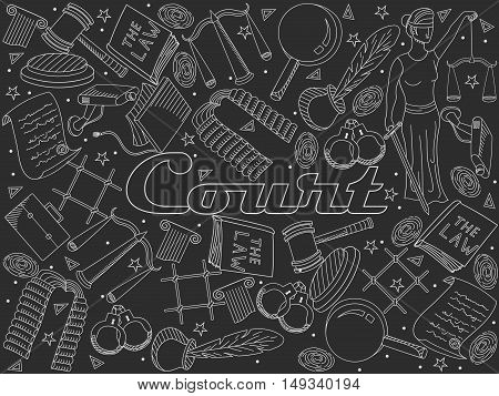 Vector collection or set of law and justice icons sign symbol pictogram in flat style with a Judge book hammer handcuffs scales hat chalky
