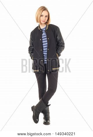 Full Length Portrait Of Woman In Jacket Isolated