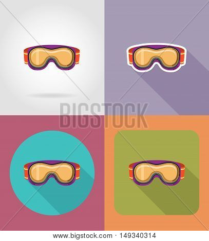 ski and snowboarding glasses flat icons vector illustration isolated on white background