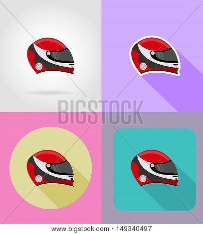 helmet for a racer flat icons vector illustration isolated on background