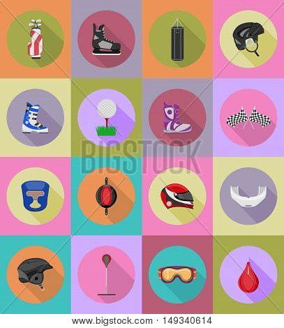sport game equipment flat icons illustration isolated on background