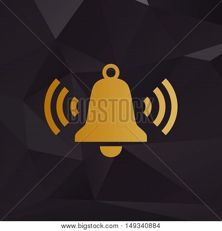 Ringing Bell Icon. Golden Style On Background With Polygons.