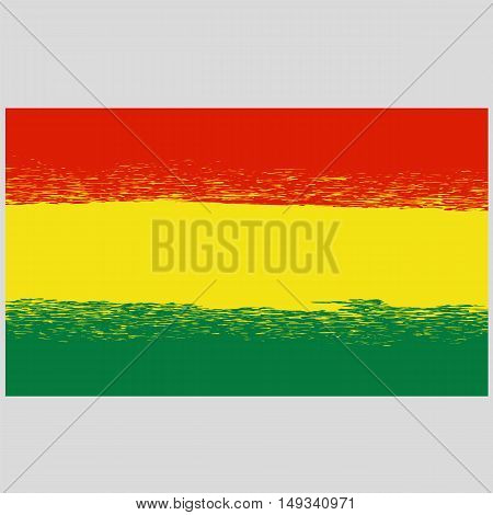 National Grunge Flag of Bolivia Isolated. Symbol of Bolivian Independence