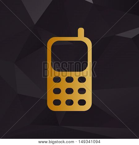 Cell Phone Sign. Golden Style On Background With Polygons.