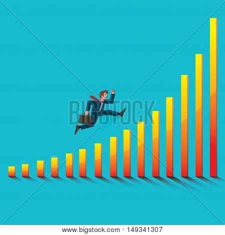 young businessman running up the schedule of increasing success on blue background