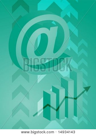 Abstract financial success illustration with electronic at symbol
