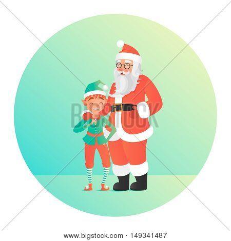 Santa Claus hugging elf. Cute christmas characters.