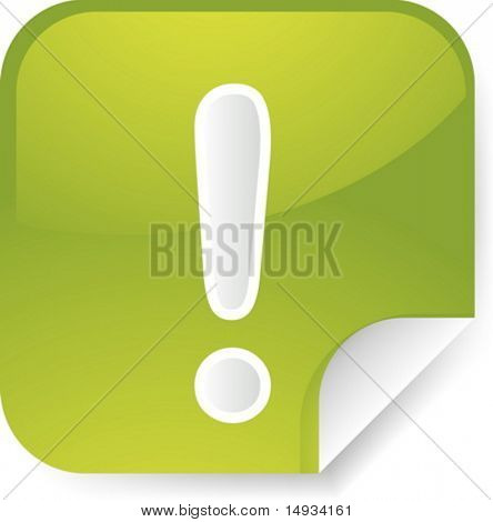 Navigation icon sticker button with exclamation mark