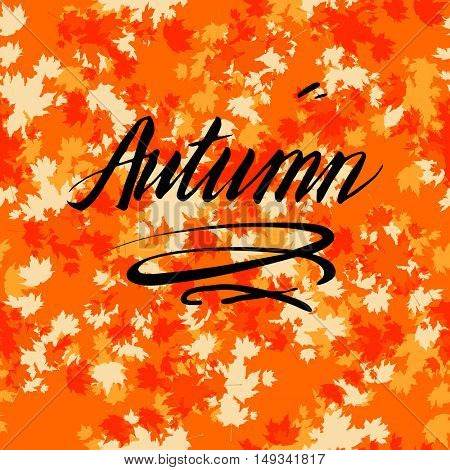 Autumn lettering with leaves