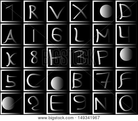 Numbers and letters in squares with a gradient. Dark and gray