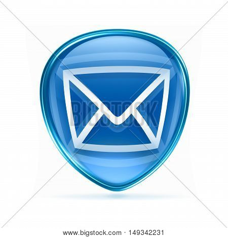 Postal Envelope Blue, Isolated On White Background