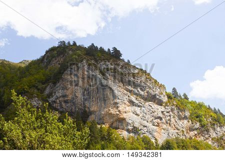 Big Rock With Trees On The Top In Pyrenees, Spain