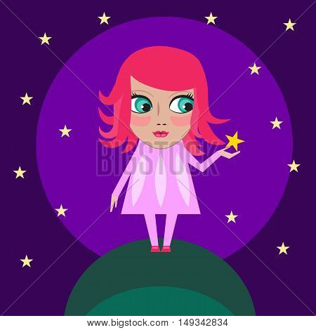 Dream girls. Vector magic pretty cartoon character. Little cute anime fairy baby with big eyes holding star on background of night sky. Logo for t-shirt. Illustration for kid shop, gritting card.