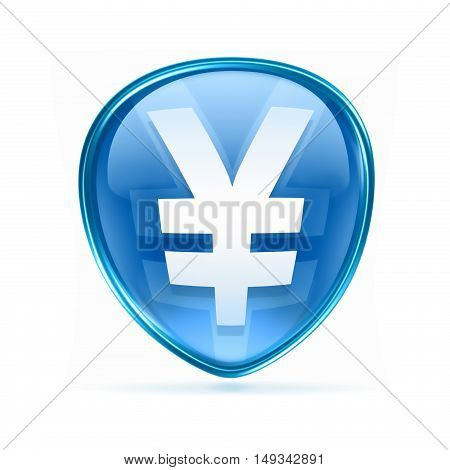 Yen Icon Blue, Isolated On White Background