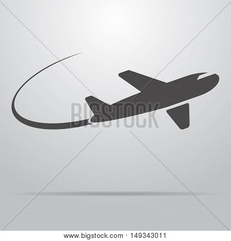 Icon flying plane, leaving behind a trail. Vector illustration