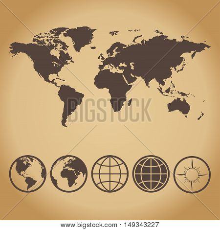 A collection of world map and icons Hemispheres