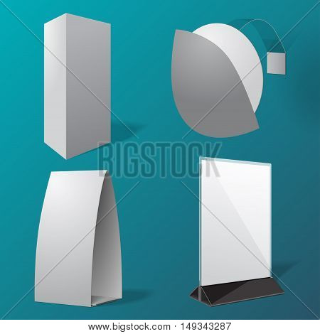 Isolated Table tents and wobbler. Vector set