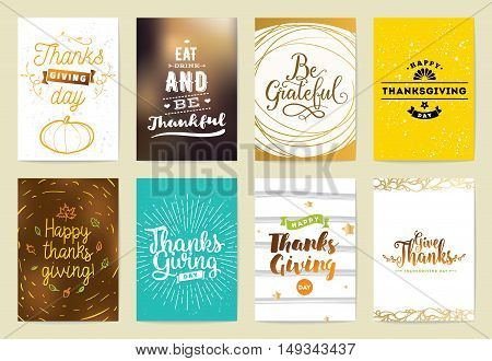 Thanksgiving day greeting cards set. Design with typography and abstract backgrounds.