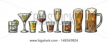 Set glass beer whiskey wine gin rum tequila cognac champagne cocktail. Vector engraved vintage illustration isolated on white background.