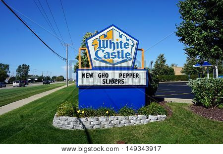 PLAINFIELD, ILLINOIS / UNITED STATES - SEPTEMBER 19, 2016: The White Castle Restaurant in Plainfield advertises new ghost pepper sliders.