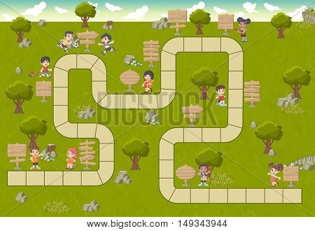 Board game with a block path on a green park with happy cartoon children and wooden sign boards