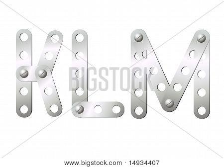 Metal Letters K, L, M