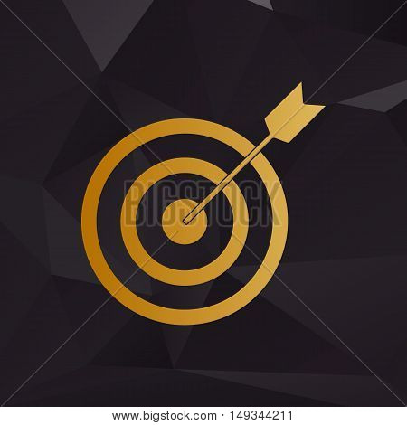 Target With Dart. Golden Style On Background With Polygons.