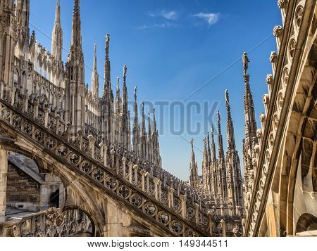 Duomo cathedral in Milan detail from the top Italy