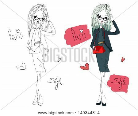 Paris Style Fashion Illustration Set with a Fashion Girl Wearing Stylish Clothes. Colorful and Sketch Paris Style Typography with Hearts