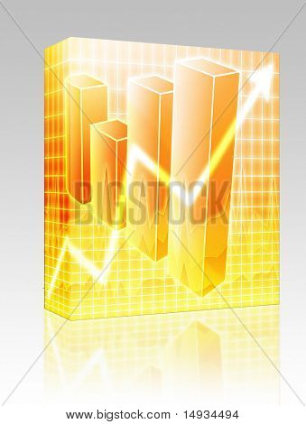 Software package box Barchart and upwards line graph financial diagram