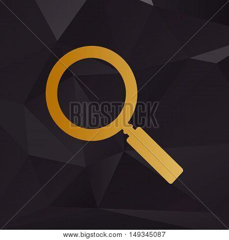 Zoom Sign Illustration. Golden Style On Background With Polygons.