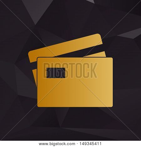 Credit Card Sign. Golden Style On Background With Polygons.
