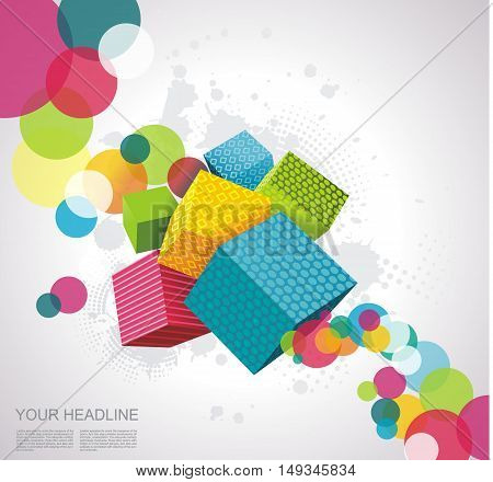 Abstract Background With Cubes.
