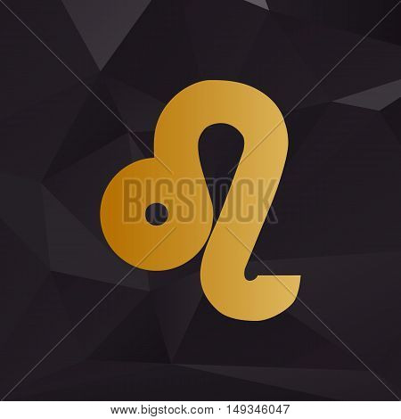 Leo Sign Illustration. Golden Style On Background With Polygons.