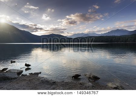 Sunset at lake Eibsee in Bavaria, Germany
