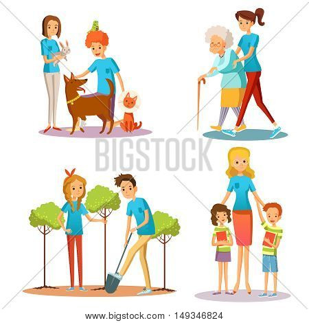 Caring for nature and people in social activities set isolated vector illustration