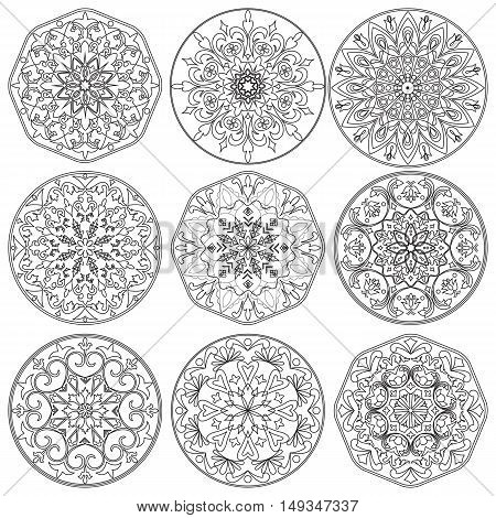 Vector set of nine decorative elements mandala in black and white. For coloring pages backgrounds decoration for your design.
