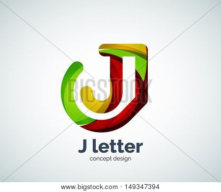 j letter logo, abstract geometric logotype template, created with overlapping elements