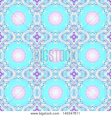 Abstract geometric seamless background. Regular circles and diamond pattern in turquoise, pink, violet and purple shades, ornate and dreamy.