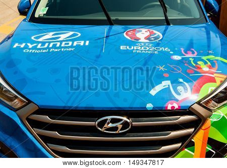 STRASBOURG FRANCE - JUN 6 2017: Detail of Hyundai Tucson Official Partner and official transporter of the UEFA CCup Trophy
