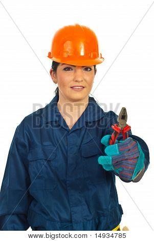Manual Worker Woman Giving Pliers