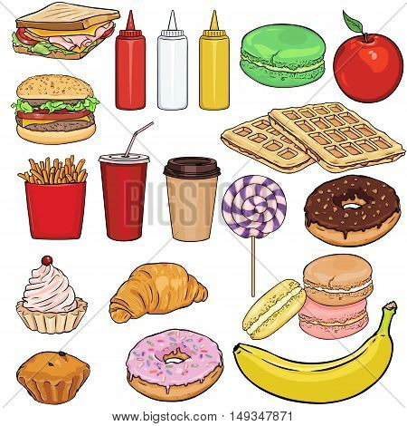 Vector Set Of Snack Items. Fast Food, Drinks, Dessert And Fruits.
