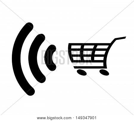 Contactless payment icon card with radio wave outside signvector illustration.Shopping cart.