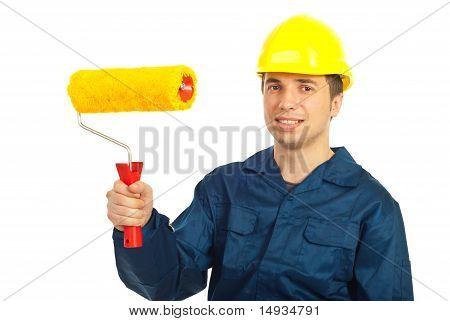 Lächelnd Worker-Mann, Farbroller