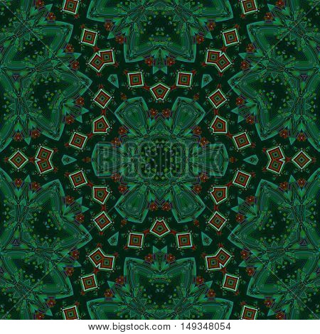 Abstract geometric seamless background. Regular ornament in dark green shades with red diamond pattern, kaleidoscope.
